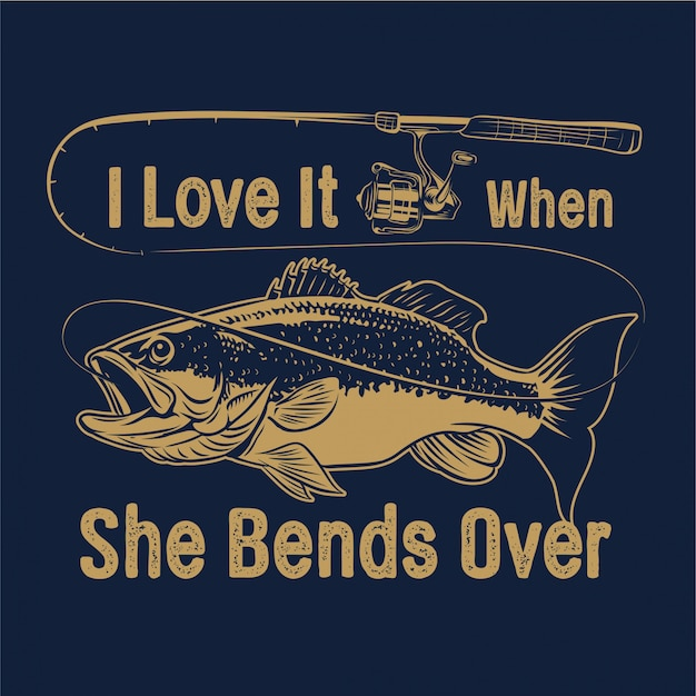 Download Largemouth bass fishing with rod and typography i love it ...