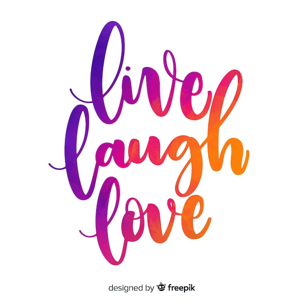 Download Live laugh love watercolor lettering Vector | Free Download