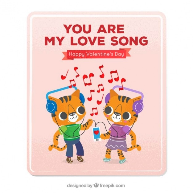 Download Love card with kittens listening to music | Free Vector