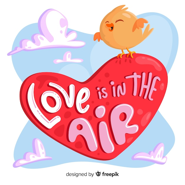 Download Love is in the air heart with bird Vector   Free Download