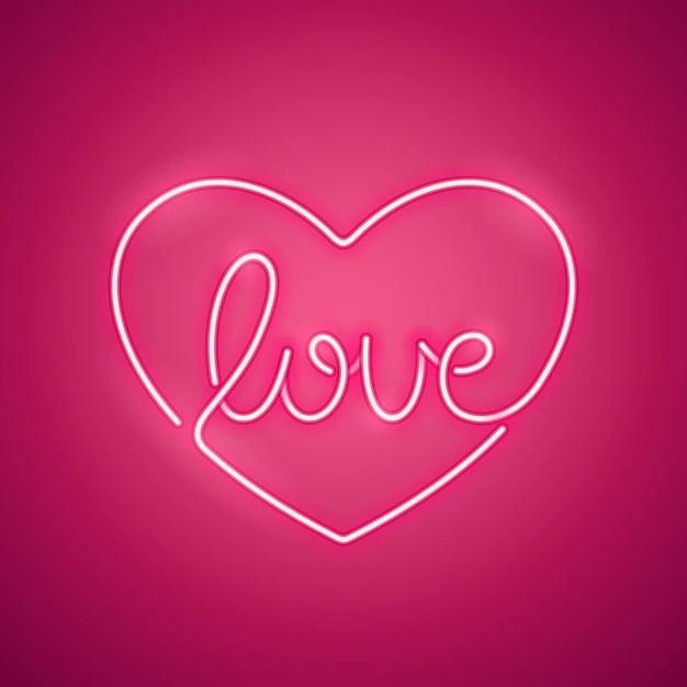 Download Premium Vector | Love neon sign pink
