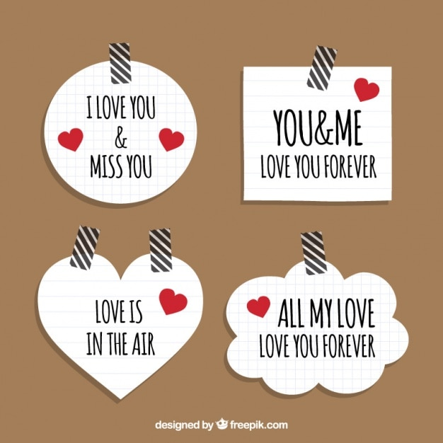 Love Stickers With Paper Background Vector Free Download