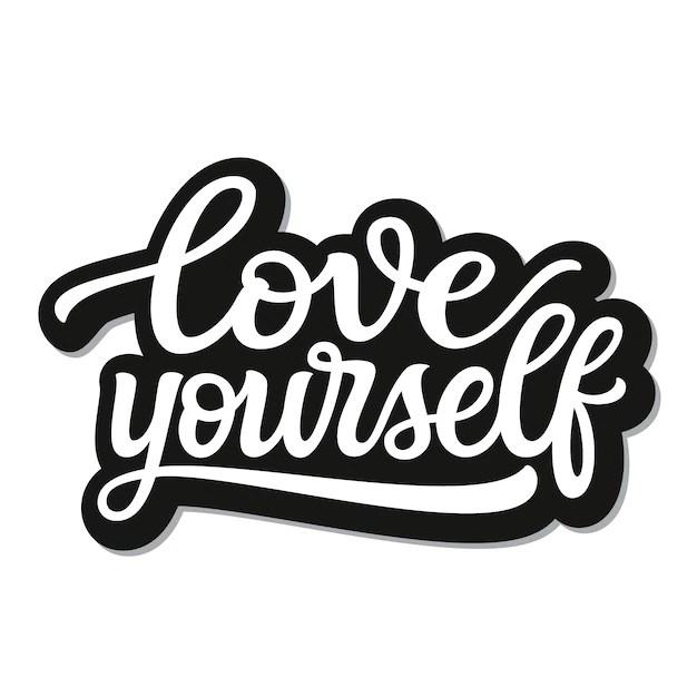 Download Love yourself lettering   Premium Vector