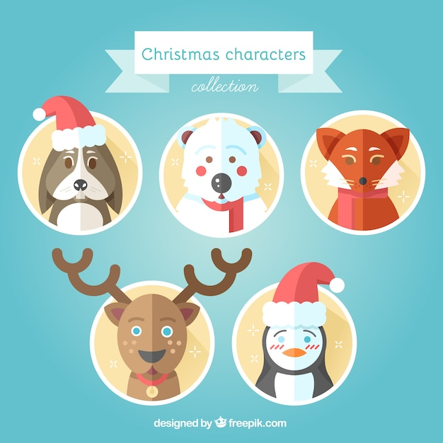 Lovely Christmas Animals In Flat Design Vector Free Download