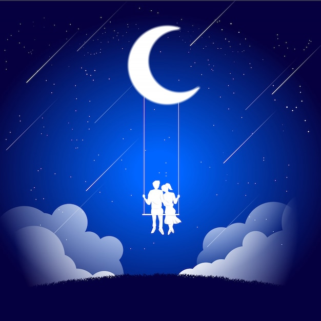 Download Lover couple siting together on swing under the moon ...
