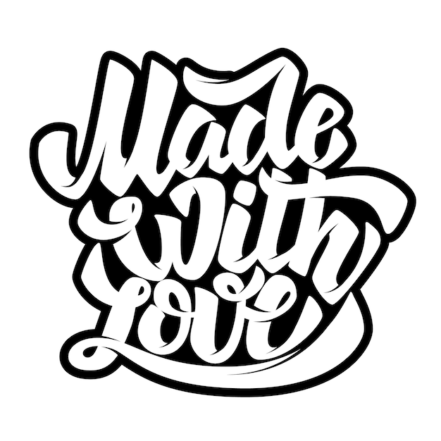 Download Premium Vector   Made with love. lettering phrase on white ...
