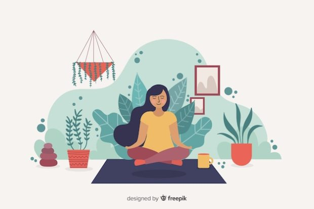 Meditation concept for landing page Free Vector