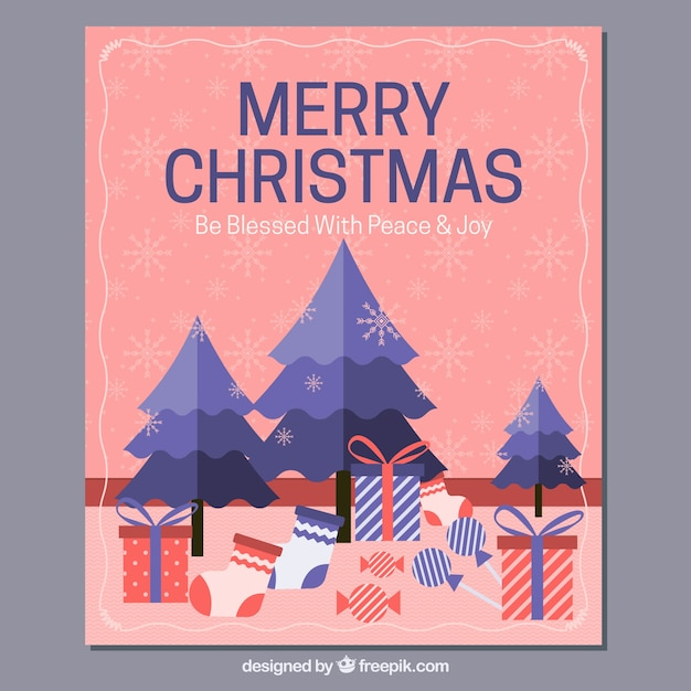 Merry Christmas Card With Trees And Gifts Vector Free