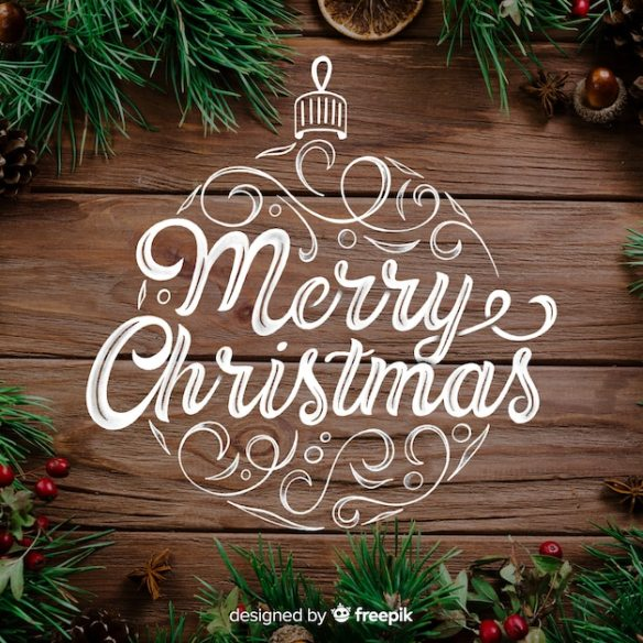 Merry christmas concept with lettering Free Vector