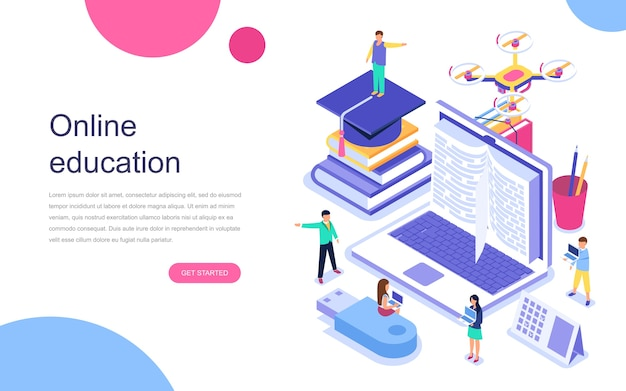 Premium Vector | Modern flat design isometric concept of online education