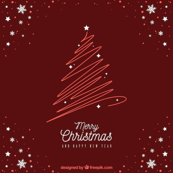 Modern red christmas design Free Vector