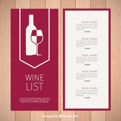 Modern wine list template Vector   Free Download Modern wine list template Free Vector