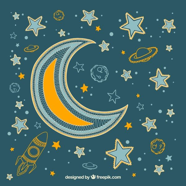 Moon background with stars and hand drawn planets | Free ...