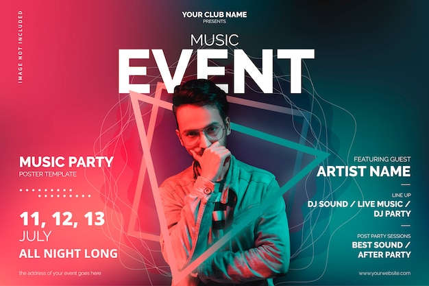 music event poster template with