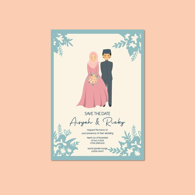 Download lagu save the date wedding invitation animated template video 5.1 mb, download mp3 & video save the date wedding invitation animated template. Premium Vector Muslim Couple Portrait Wedding Invitation Walima Nikah Save The Date Template