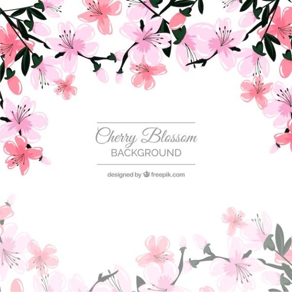 Красивый фон из цветущей вишни Вектор Скачать