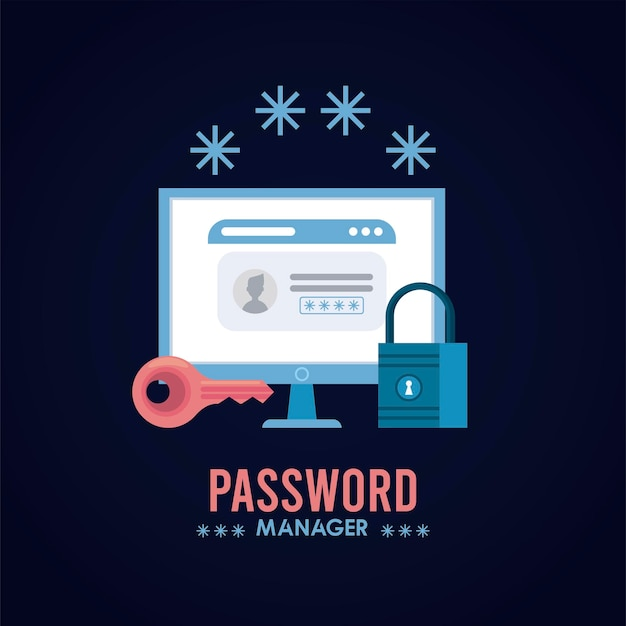 Sometimes different sites require certain steps to reset or change your password. Premium Vector Password Manager Theme With Padlock And Web Template In Desktop Illustration