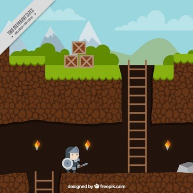 Platform game with a character Vector   Free Download Platform game with a character Free Vector
