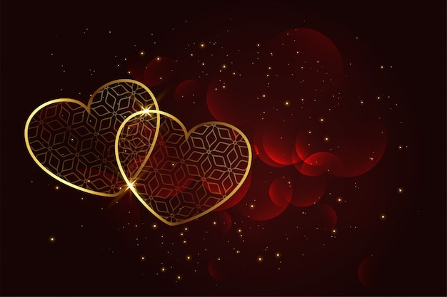 2 Delicate Hearts on Red Background Free Vector Graphic