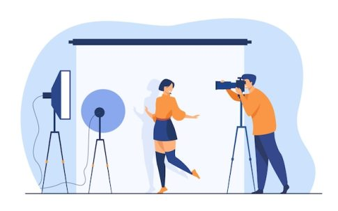Professional photographer taking pictures of young woman. female model posing for camera against white backdrop among studio light. vector illustration for photo shooting, photography concept Free Vector