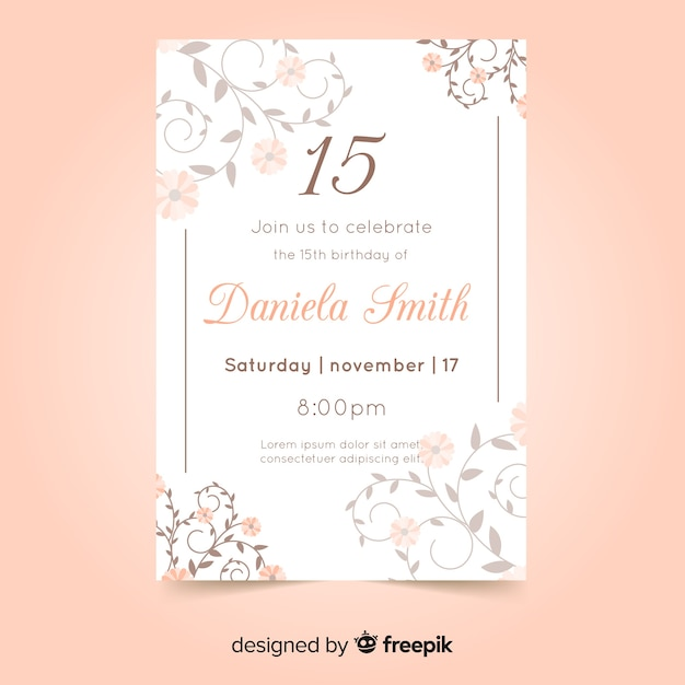 quinceanera party invitation card