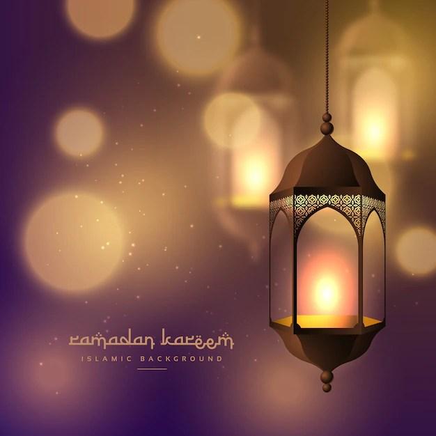 Ramadan Kareem Card With Lantern Vector Free Download