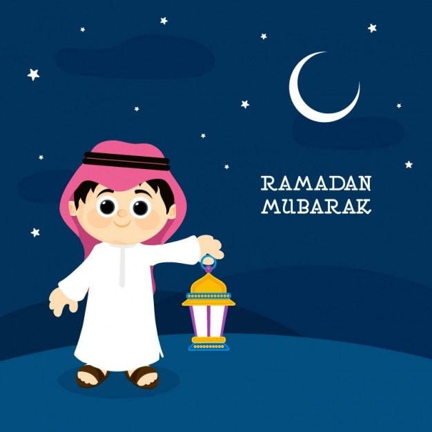 Ramadan Mubarak Background With Boy Holding A Lantern