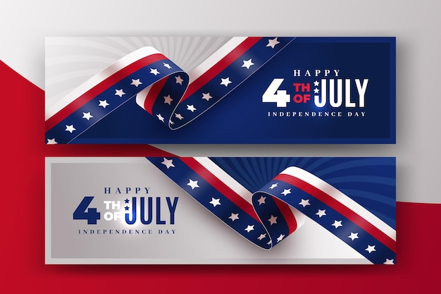 Realistic banners 4th of july independence day Free Vector