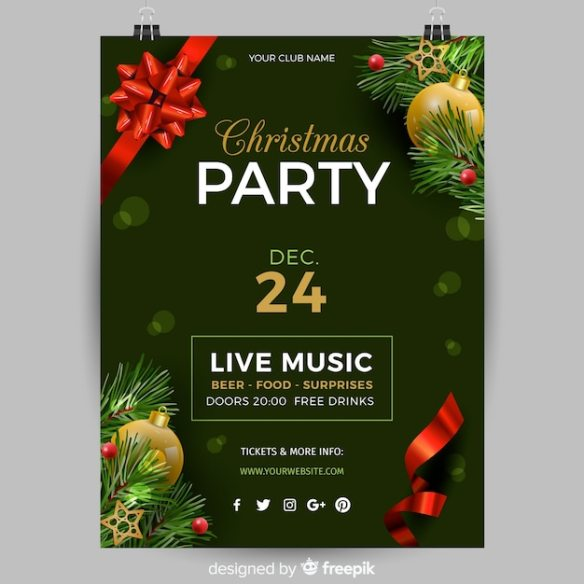 Realistic christmas party poster template Free Vector