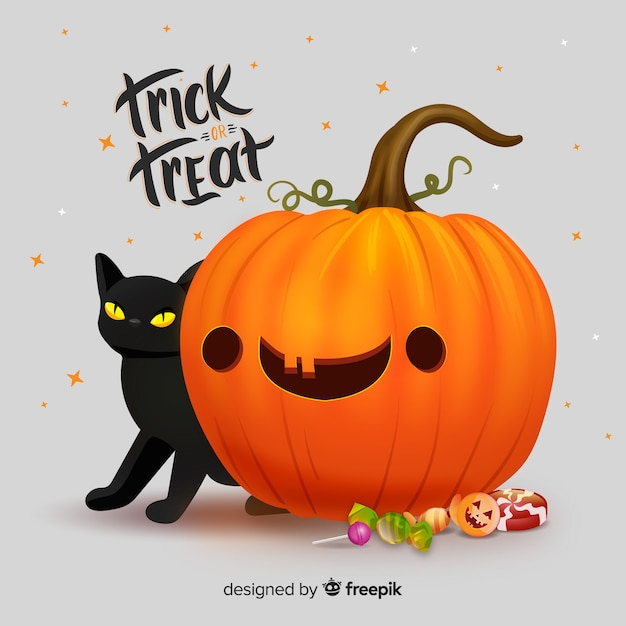 Free Vector Realistic Cute Halloween Pumpkin With Cat