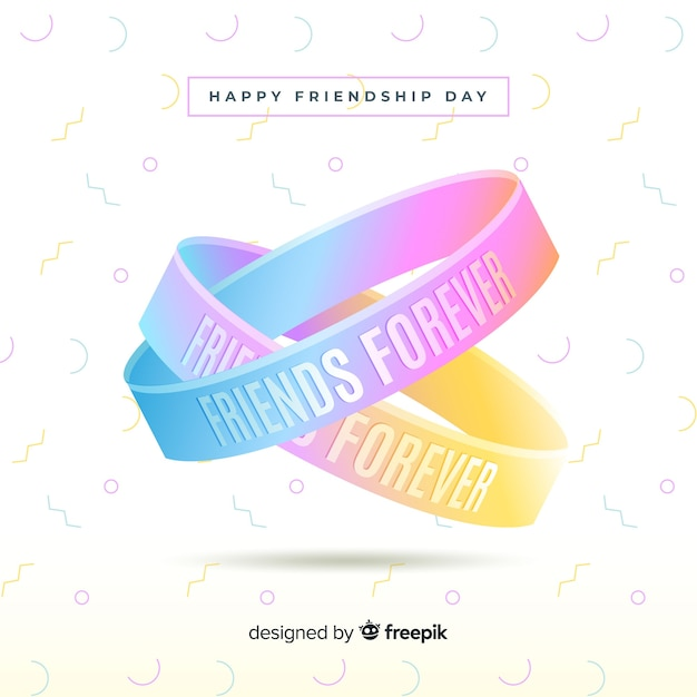 Colorful Friends Forever Friendship Day Bracelets Free Vector Card