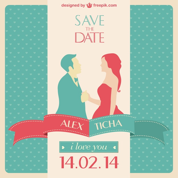 Red And Turquoise Wedding Invitation With The Silhouette Of A Couple Free Vector