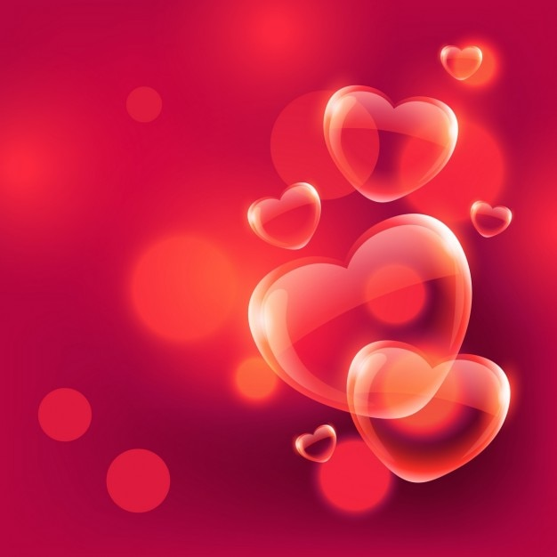 Red Background With Bubbles And Hearts Vector Free Download