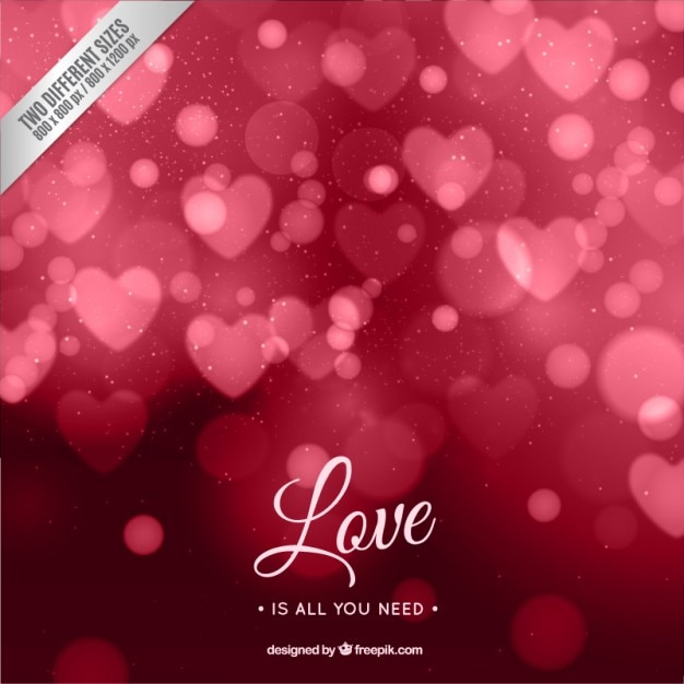 Pink Bokeh Hearts Free Vector Background