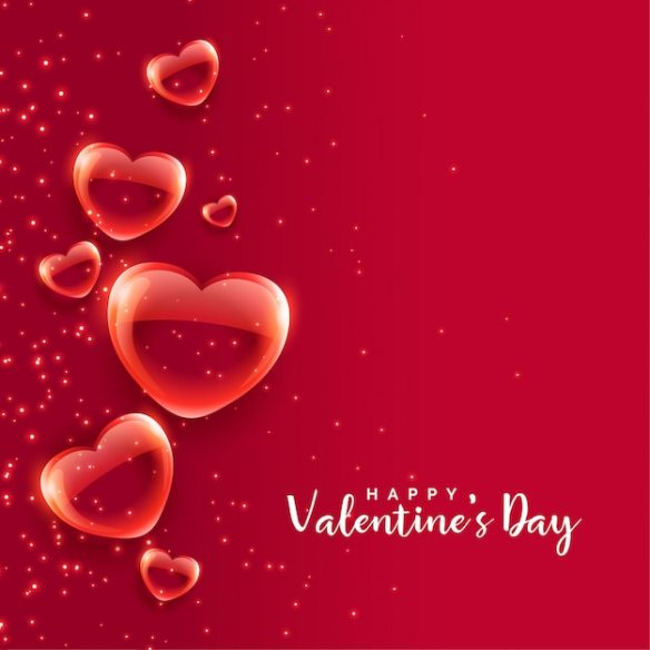 Red Hearts Floating Free Valentines Day Vector