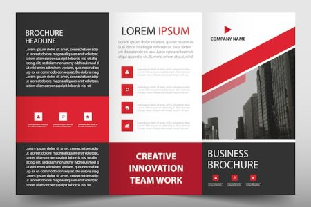 Red trifold business flyer template Vector   Free Download Red trifold business flyer template Free Vector