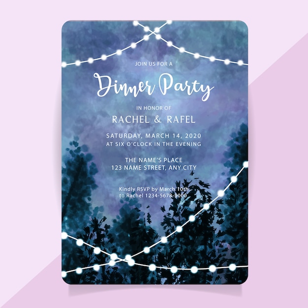 You can use this free printables for making free birthday invitations, free printable birthday invitations, party invitations, printable birthday cards, photo frames = picture frames = personalized picture frames = personalised photo frames; Premium Vector Rehearsal Dinner Party Invitation Card With Watercolor Misty Forest Background