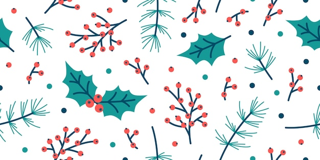 Premium Vector Seamless Christmas Pattern Spruce Holly Leaves Berry Leaf Background