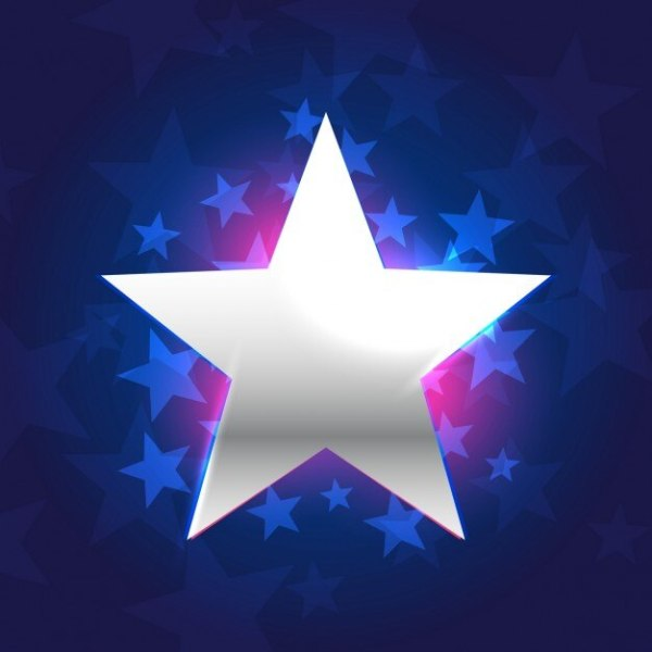 Silver star in blue background Vector | Free Download