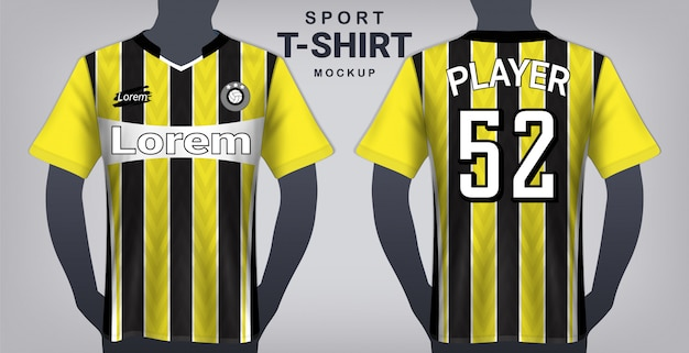 Download Soccer jersey and sport t-shirt mockup template. | Premium ...