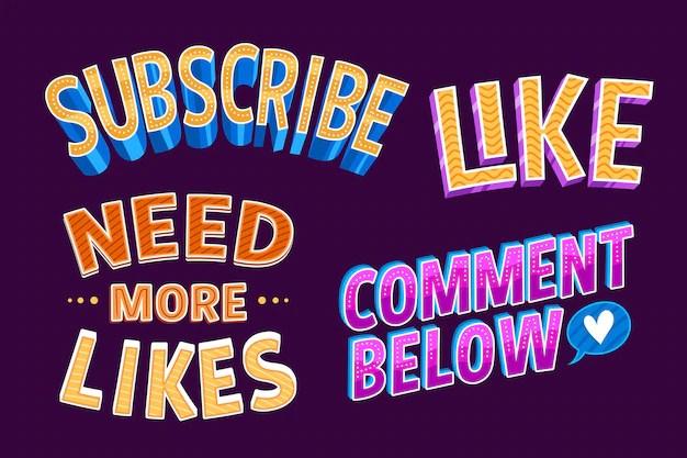 Social media lettering Free Vector