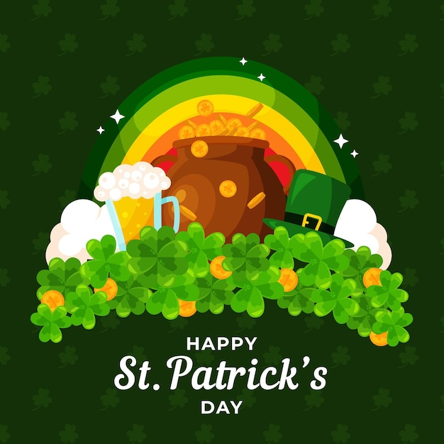 St. patrick's day illustration with rainbow and cauldron of coins Free Vector