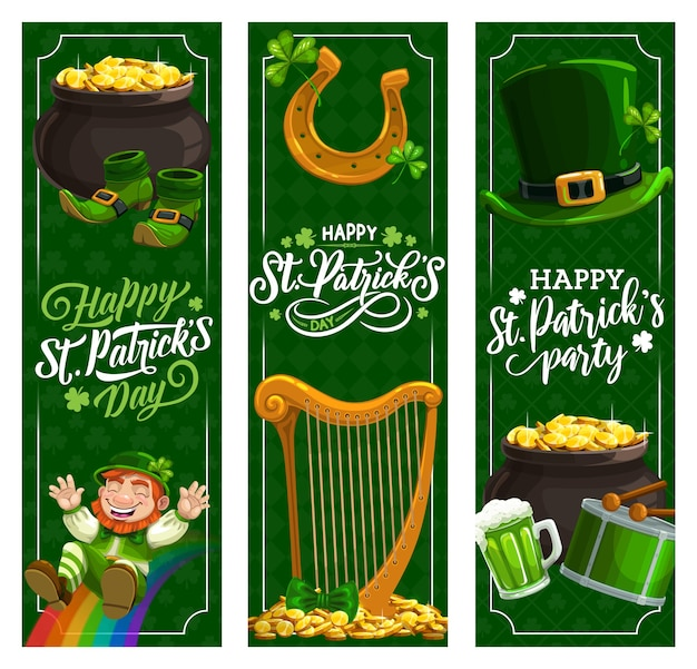 St. patricks day irish holiday banners. patricks day green beer, hat and clover leaves, leprechaun treasure pot with gold coins, lucky horseshoe and shamrock, rainbow, spring fest drum, harp Premium Vector