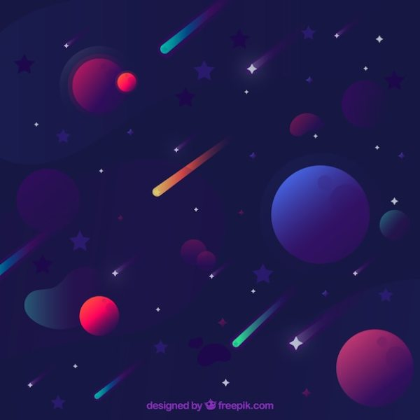 Star background with planets Vector | Free Download