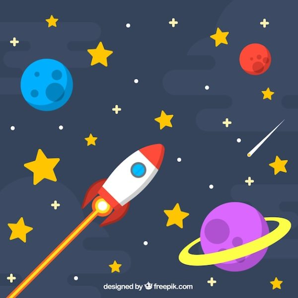 Star background with rocket and planets Vector | Free Download