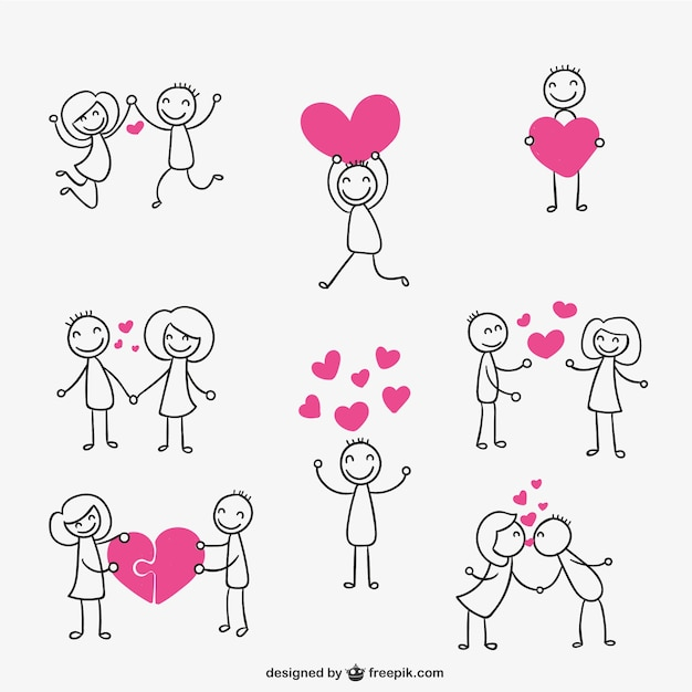 Download Stick figure couple in love Vector   Free Download