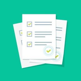 Survey or exam form paper sheets pile with answered quiz checklist and success result assessment flat cartoon Premium Vector
