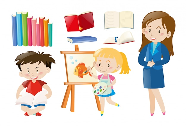Teacher And Students With School Objects Vector
