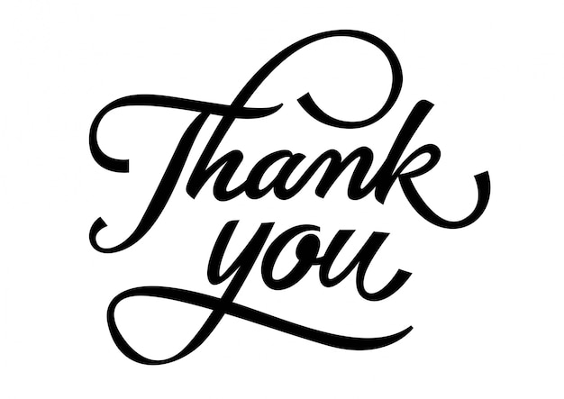Download Free Vector   Thank you lettering with curls