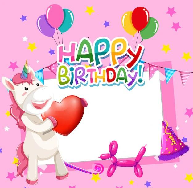 free vector unicorn on birthday frame